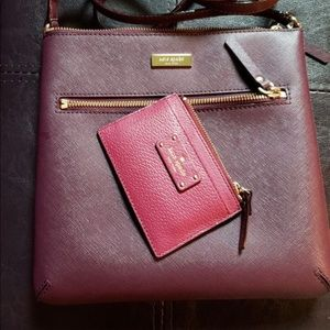 Katespade burgundy color crossbody and card case